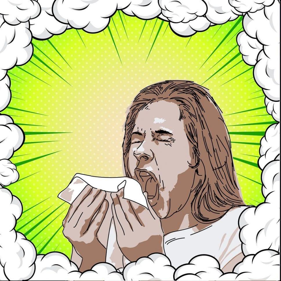 kýchající bůh chřipky